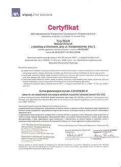 Certyfikat gwarancji ubezpieczenia 2018
