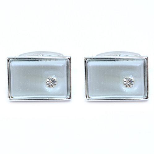 Silver Crystal Stone Cufflinks