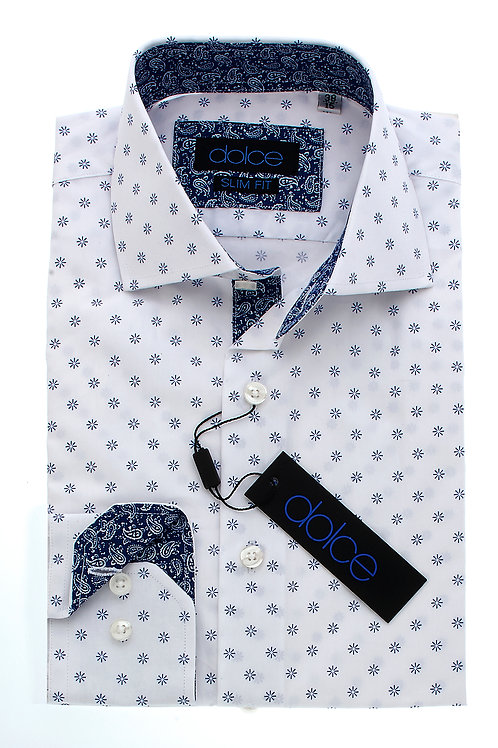 White Pattern Italian Slim Dress Shirt