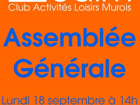 Assemblée Générale lundi 18 septembre 14h
