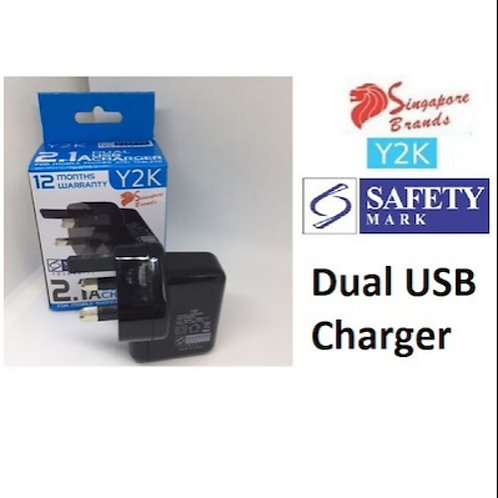 Y2K Safety Mark 2100mAh Dual USB Power Plugs Charger