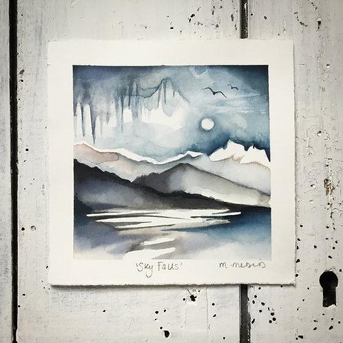 'Sky Falls' Watercolour Painting