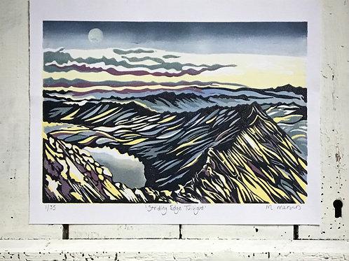 'Striding Edge Twilight' Lino Print
