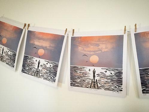 'Lost, Found' Lino Print