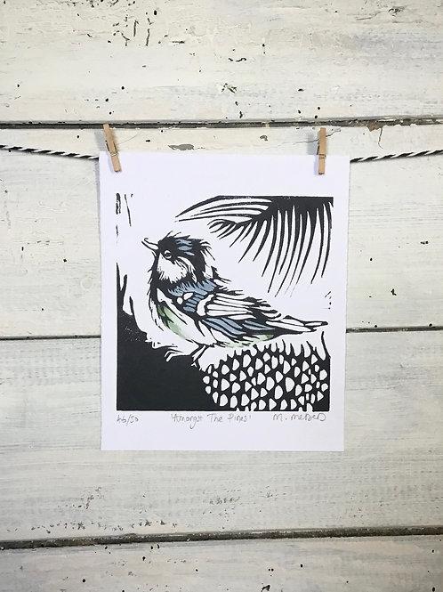 'Amongst The Pines' (Coal Tit) Lino Print
