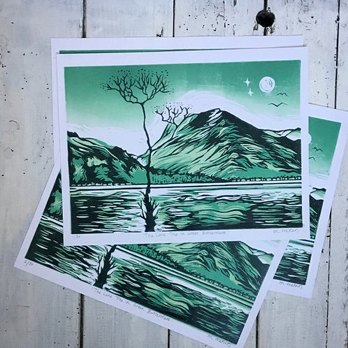 'The Lone Tree In Green, Buttermere' Lino Print