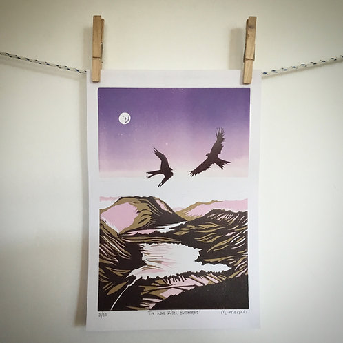 'The Love Kites, Buttermere' Lino Print