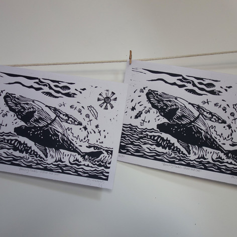 BREACHING FLOWERS (WHALE AND CALF)
