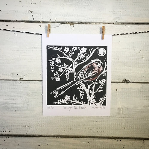 'Amongst The Blossom' (Long Tailed Tit) Lino Print