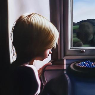 DORA IN THE WINDOW AT ALLAN BANK