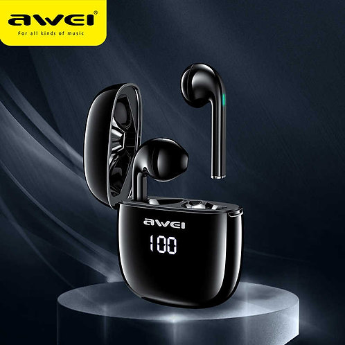 AWEI T28P True Wireless Earbuds LED Digital Display (Black)