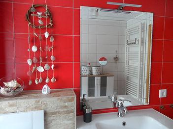 Badezimmer, Haus Maisonette am Harz, Urlaub in Thüringen, Deutschland
