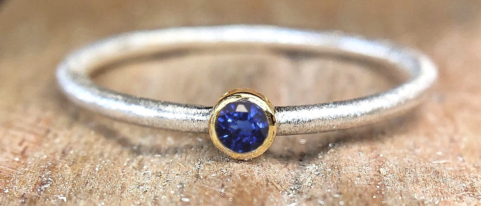 Blue Sapphire Gold and Silver Textured Stacking Ring