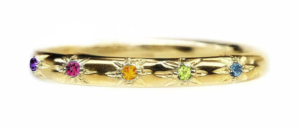 Rainbow Star Set Ring in 18ct Gold