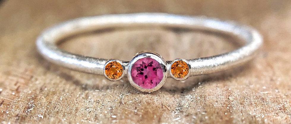 Trinity Pink Tourmaline and Orange Sapphire Textured Stacking Ring