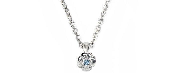 Mini Aquamarine Flower Pendant with chain