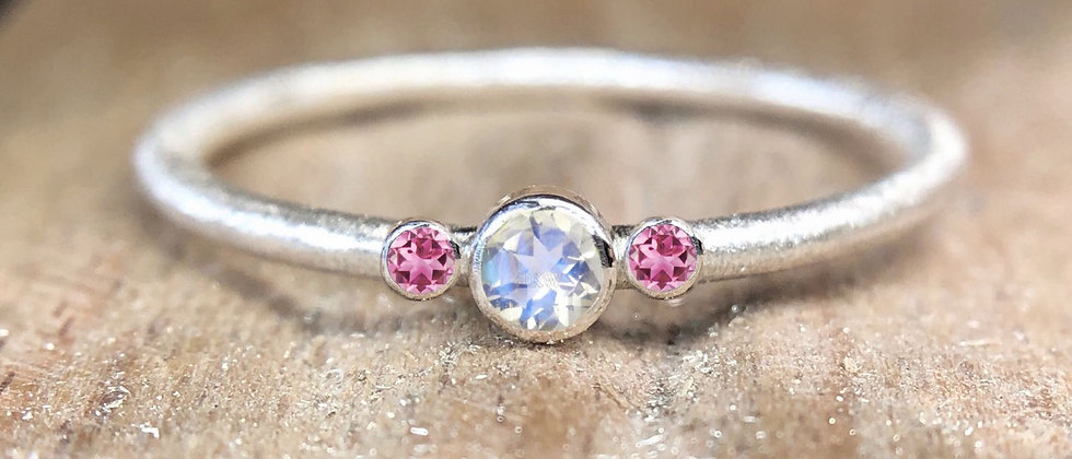 Trilogy Moonstone and Pink Tourmaline Textured Stacking Ring