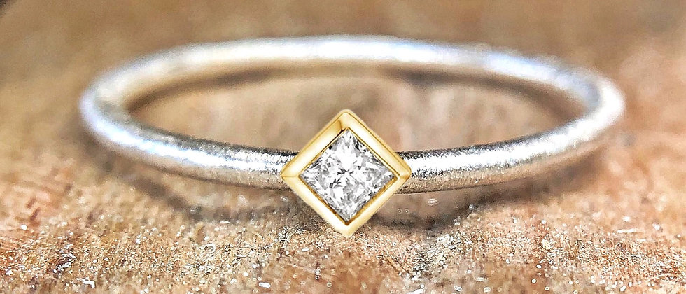Princess Cut Diamond Gold and Silver Textured Stacking Ring