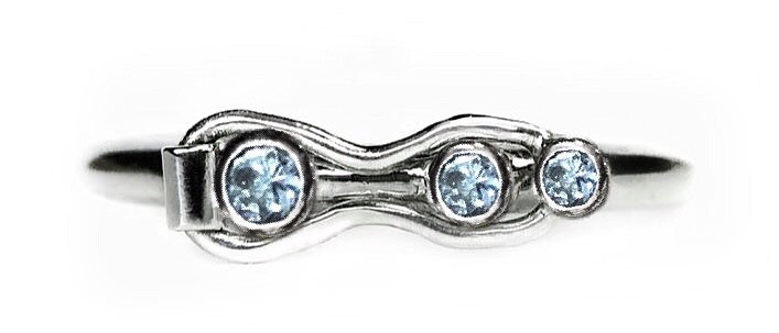 Aquamarine Three Stone Fidget Ring