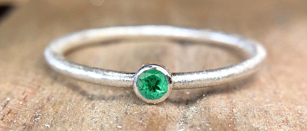 Emerald Textured Stacking Ring