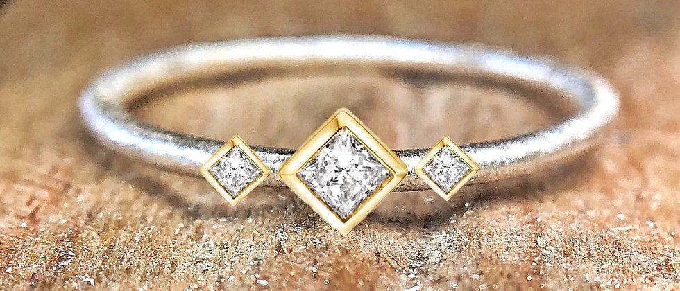Trinity Princess Cut Diamond 9ct Gold Textured Stacking Ring