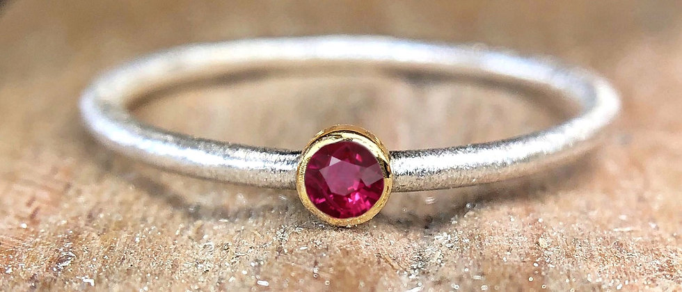 Ruby Gold and Silver Textured Stacking Ring