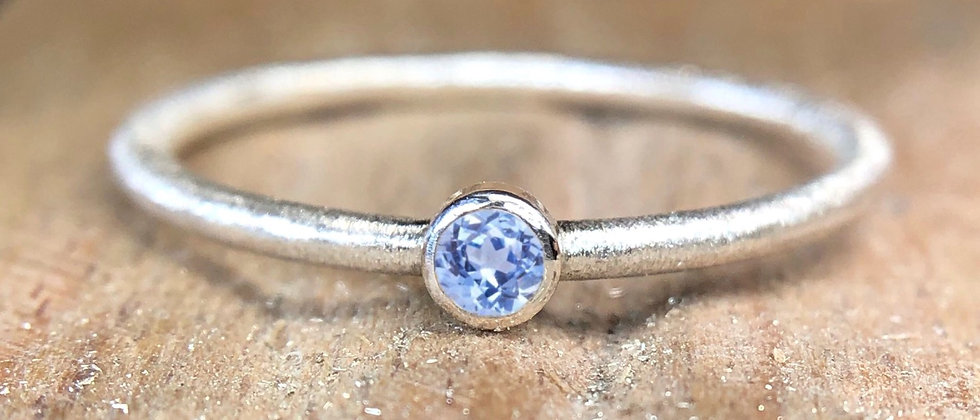 Light Blue Sapphire Textured Stacking Ring