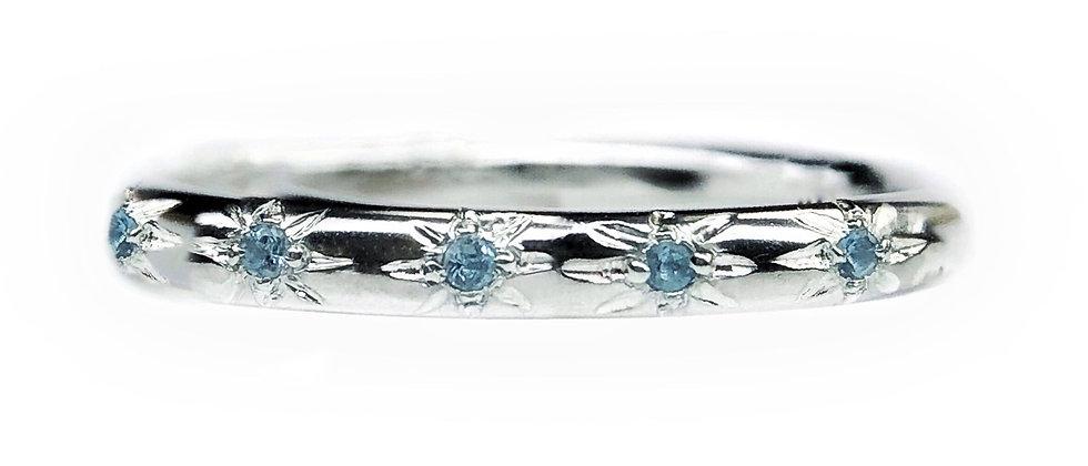 Aquamarine Star Set Ring