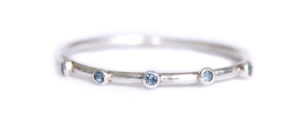 Slim Aquamarine Stacking Ring