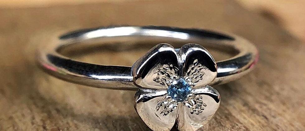 Aquamarine Flower Ring