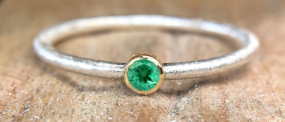 Emerald Gold and Silver Textured Stacking Ring