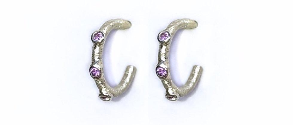 Amethyst Textured Hoops