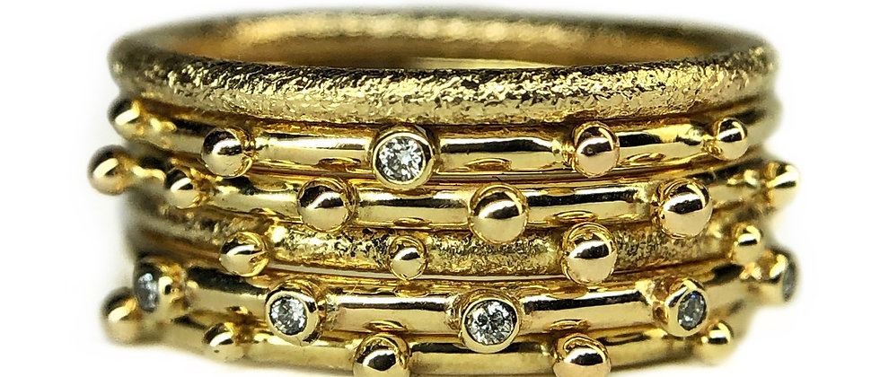 9ct Gold and Diamond Ring Stack