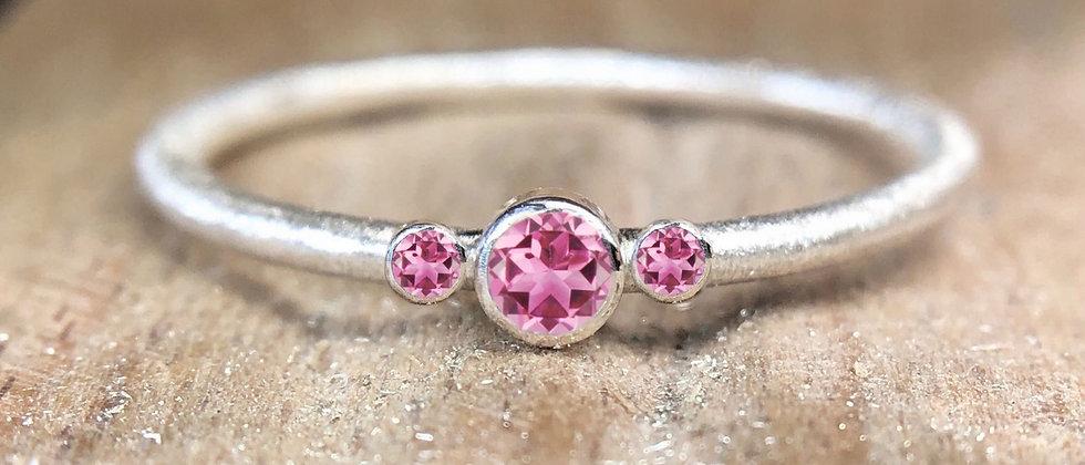 Trilogy Light Pink Tourmaline Textured Stacking Ring