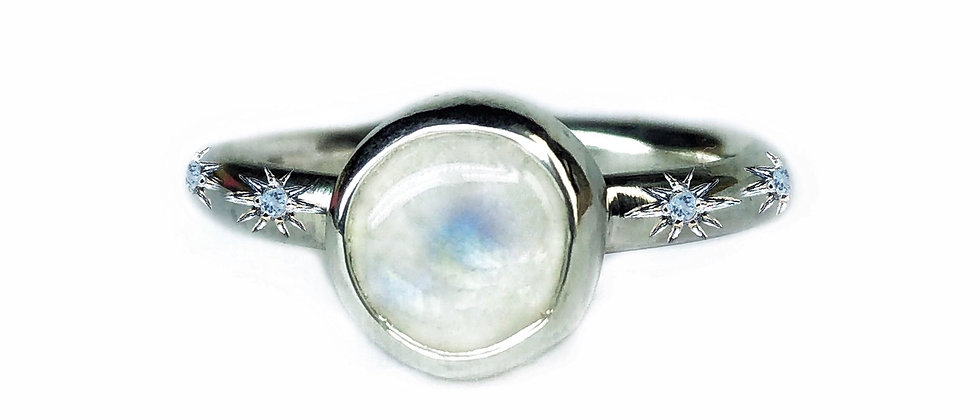 Moonstone Ring with Aquamarine Stars