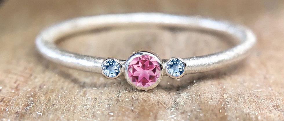 Trilogy Pink Tourmaline and Aquamarine Textured Stacking Ring