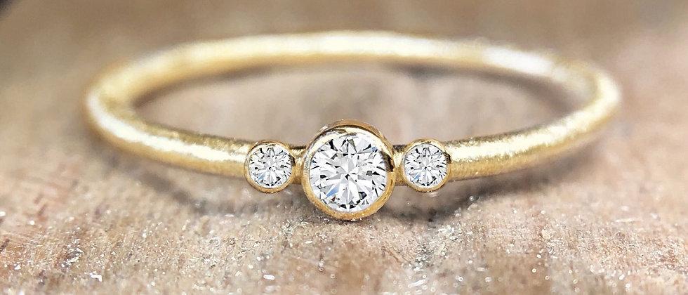 Trilogy Diamond 18ct Yellow Gold Textured Stacking Ring