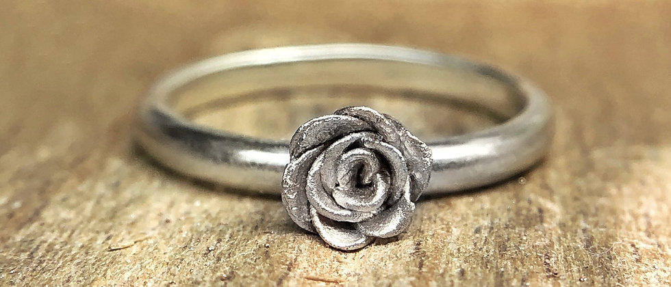 Silver Rustic Rose Ring