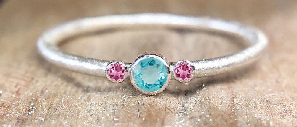 Trilogy Apatite and Pink Tourmaline Textured Stacking Ring