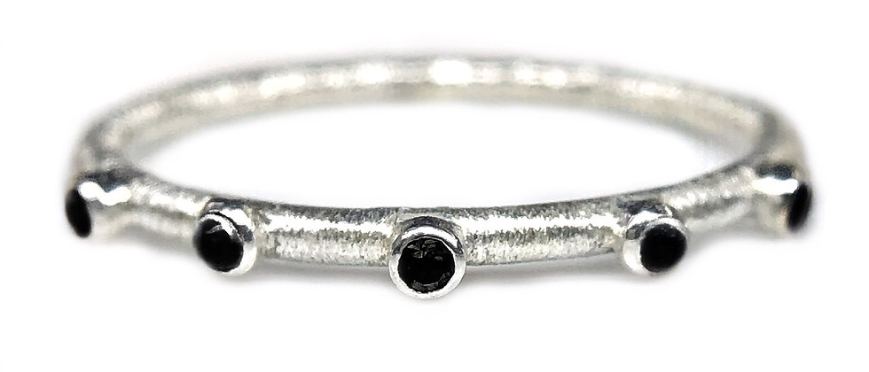 Black Spinel Textured Eternity Ring