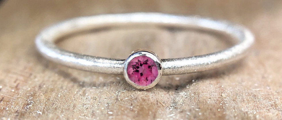 Pink Tourmaline Textured Stacking Ring
