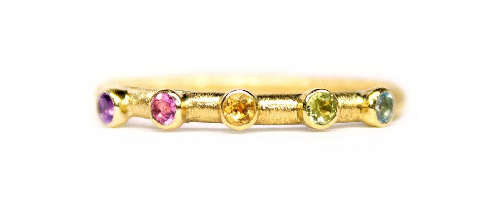 Rainbow Textured Gold Ring