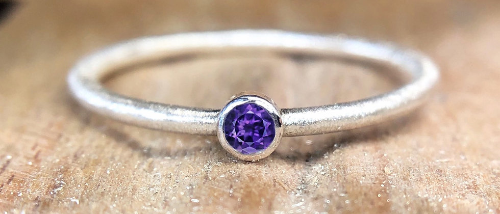 Amethyst Textured Stacking Ring