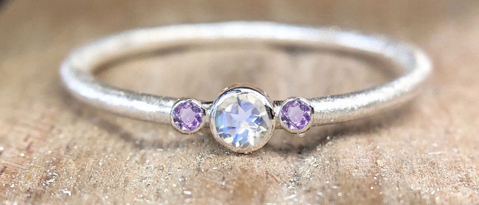 Trilogy Moonstone and Amethyst Textured Stacking Ring