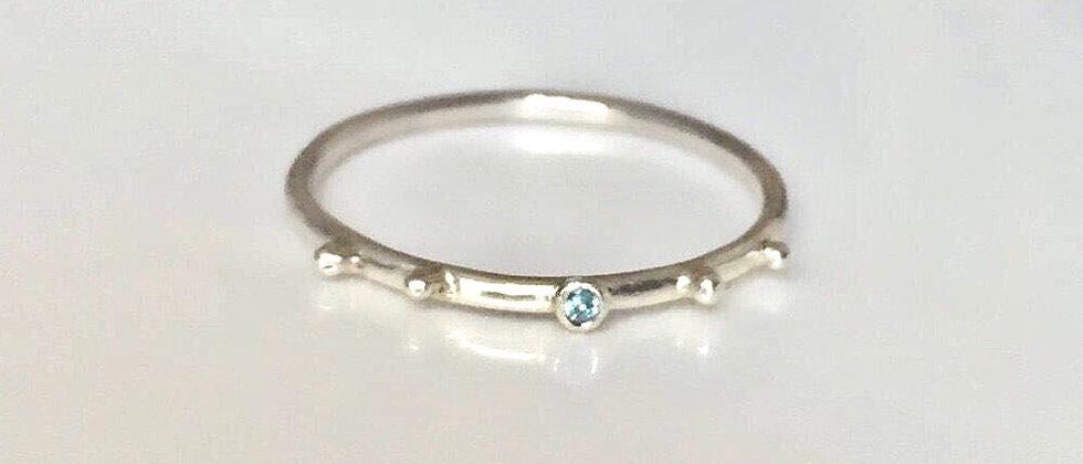 Dainty Aquamarine Bubble Ring
