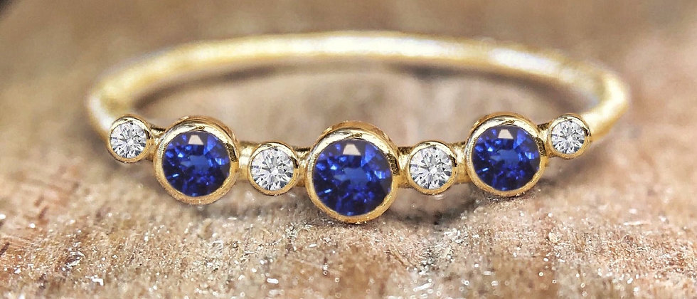Eternity Sapphire and Diamond 9ct Gold Ring