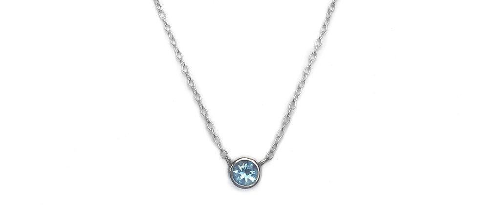 Aquamarine Bezel Necklace