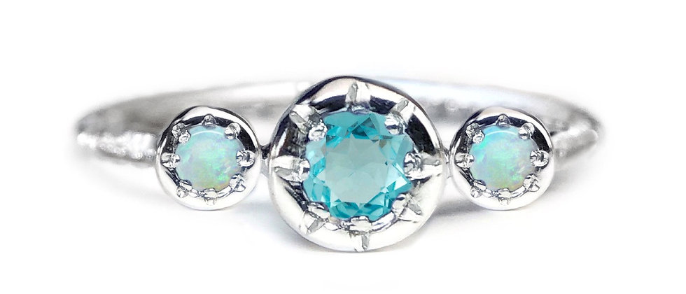 Trilogy Apatite and Opal Ring