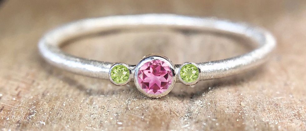 Trilogy Pink Tourmaline and Peridot Textured Stacking Ring