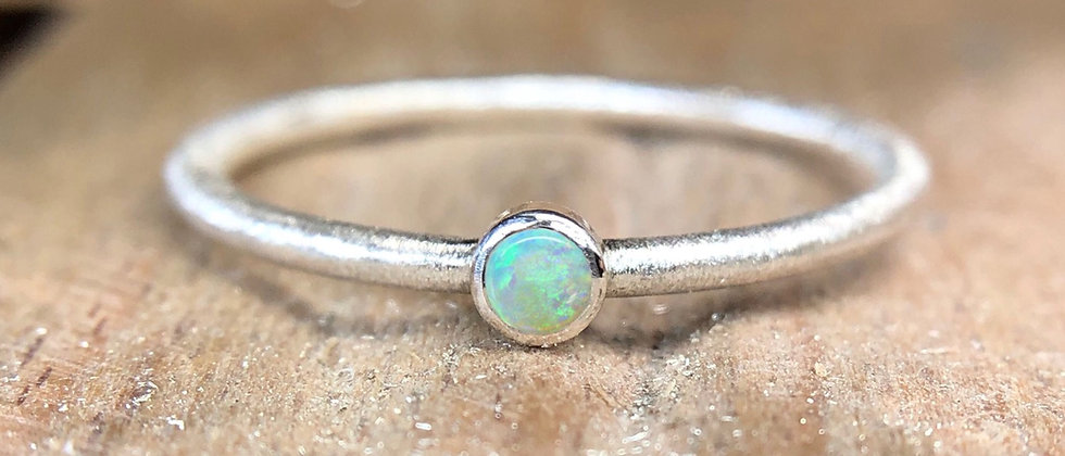 Opal Textured Stacking Ring
